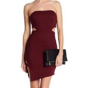 LUSH Asymmetrical Hem Cutout Bodycon Dress